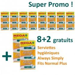 Simply Fits - Maxi Pack 360 Serviettes hygiéniques d'Always - 10 Packs de 36 Serviettes hygiéniques taille normal plus sur Couches Zone