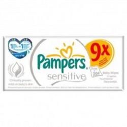 Sensitive Baby - Pack économique de 504 Lingettes Bébés Pampers - 9 Packs de 56 sur Couches Zone