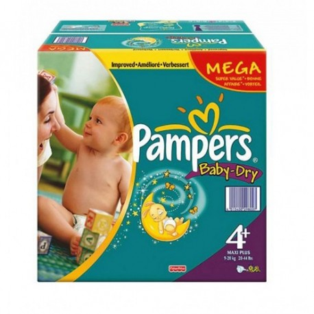 Baby Dry - Maxi Pack 328 Couches de Pampers taille 4+ sur Couches Zone