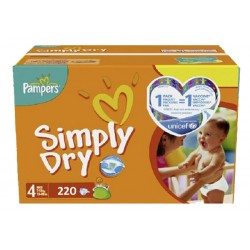 Simply Dry - Pack de 220 Couches de Pampers taille 4 sur Couches Zone
