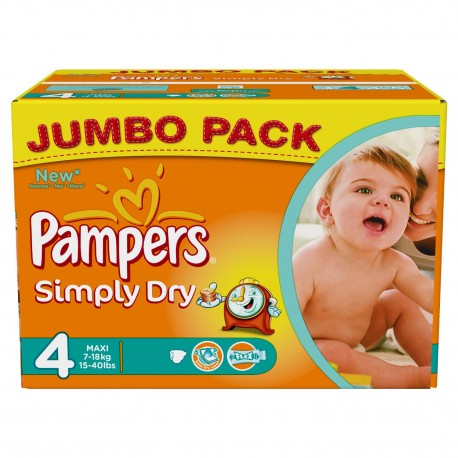 80 Couches Pampers Simply Dry Taille 4 A Petit Prix Sur Couches Zone
