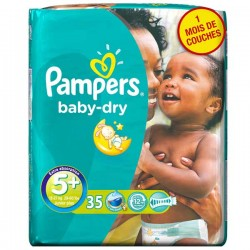 Baby Dry - Pack 35 Couches de Pampers taille 5+ sur Couches Zone