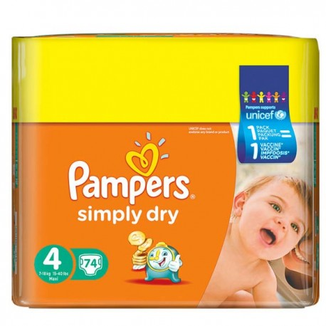 74 Couches Pampers Simply Dry Taille 4 Pas Cher Sur Couches Zone