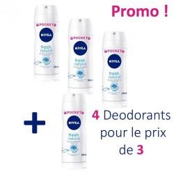 Fresh Natural - Pack économique 4 Deodorants Nivea - 4 au prix de 3 taille Pocket sur Couches Zone