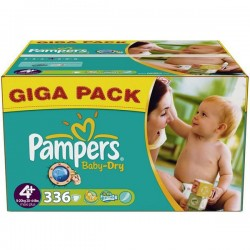 Baby Dry - Giga Pack 336 Couches Pampers taille 4+ sur Couches Zone