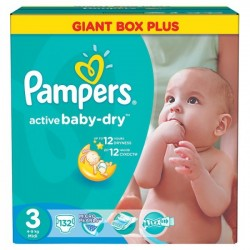 Active Baby Dry - Pack 132 Couches Pampers taille 3 sur Couches Zone