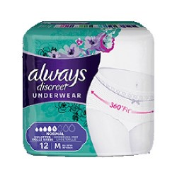 Pack 12 culottes incontinence ALWAYS DISCREET Normal sur Couches Zone