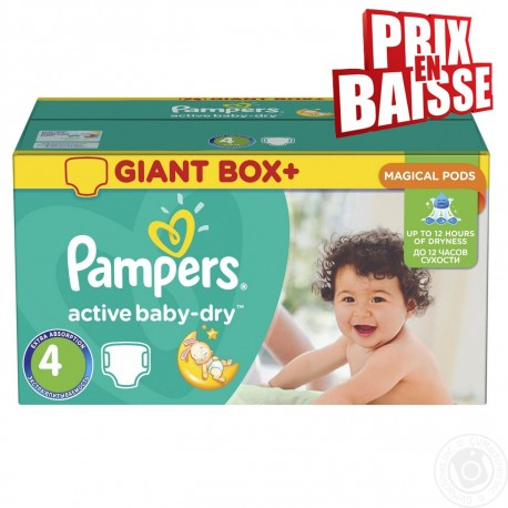 Active Baby Dry - Giga Pack de 348 Couches de Pampers taille 4 sur Couches Zone