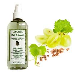 Huile de beauté aux pépins de raisin 100% végétale et pure sur Couches Zone