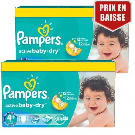 Maxi Giga Pack 162 Couches Pampers Active Baby Dry taille 4+ sur Couches Zone