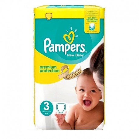 Pack 29 Couches Pampers Premium Protection - New Baby taille 3 sur Couches Zone
