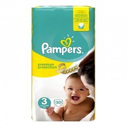 Pack 50 Couches Pampers Premium Protection - New Baby taille 3 sur Couches Zone