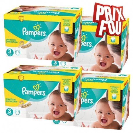Pack Jumeaux 650 Couches Pampers Premium Protection - New Baby taille 3 sur  Couches Zone 9546869eb46