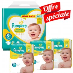 Pack Jumeaux 416 Couches Pampers Premium Protection - New Baby taille 5+