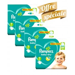 Pack Jumeaux 308 Couches Pampers Baby Dry taille 7 sur Couches Zone