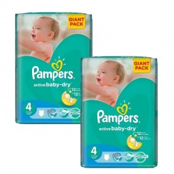 Maxi Giga Pack 270 Couches Pampers Active Baby Dry taille 4