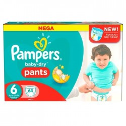 Pack 64 Couches Pampers Baby Dry Pants taille 6 sur Couches Zone