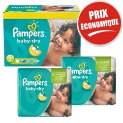 Maxi Pack 225 Couches Pampers Baby Dry taille 5+ sur Couches Zone