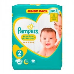 Pack 68 Couches Pampers New Baby - Premium Protection taille 2