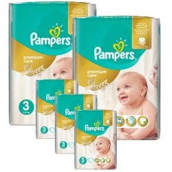 Maxi Pack 340 Couches Pampers Premium Care - Prima taille 3 sur Couches Zone