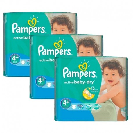 Mega Pack 192 Couches Pampers Active Baby Dry taille 4+ sur Couches Zone