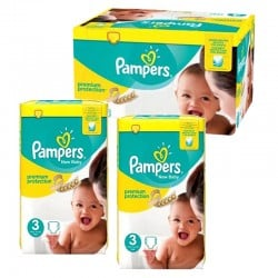 Giga Pack 150 couches Pampers New Baby Premium Protection sur Couches Zone