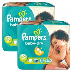 Pack 102 couches Pampers Baby Dry sur Couches Zone