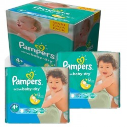 Mega Pack 280 Couches Pampers Active Baby Dry taille 4+ sur Couches Zone