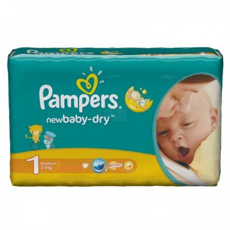 New Baby Dry - Pack de 43 Couches Pampers taille 1 sur Couches Zone