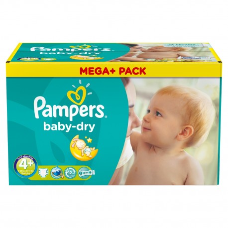 Mega pack 164 Couches Pampers Baby Dry taille 4+ sur Couches Zone