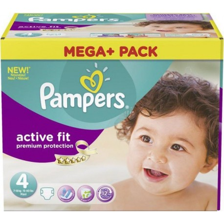 Mega pack 164 Couches Pampers Active Fit Premium Protection taille 4 sur Couches Zone
